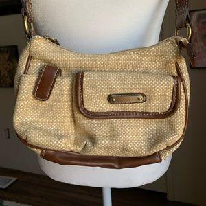 90s beige linen hobo shoulder bag